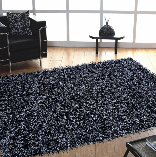 Black Shag Rug Modern Looks With White Pictures 75