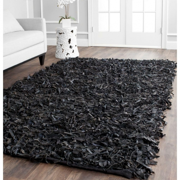Black Shag Rug Safavieh Leather Shag Black 8 Ft X 10 Ft Area Rug Lsg511a Photo 06