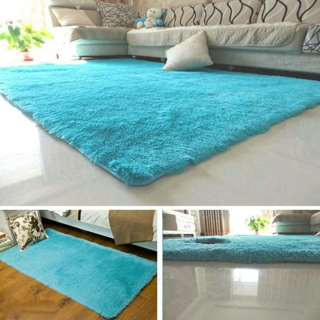 Blue Shag Rug Fluffy Anti Skiding Shaggy Area Rugs Images 61