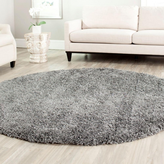 Gray Shag Rug California Shag Dark Grey 6 Ft 7 In X 6 Ft 7 In Round Pics 96