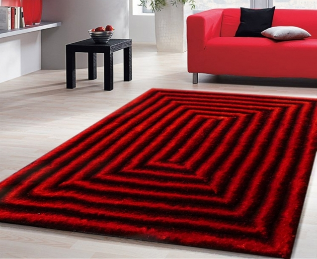 Red Shag Rug 3d Shaggy With Black Image 73