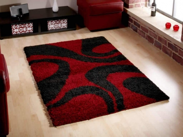 Red Shag Rug And Black Modern Contemporary Red Area Rugs Pictures 83