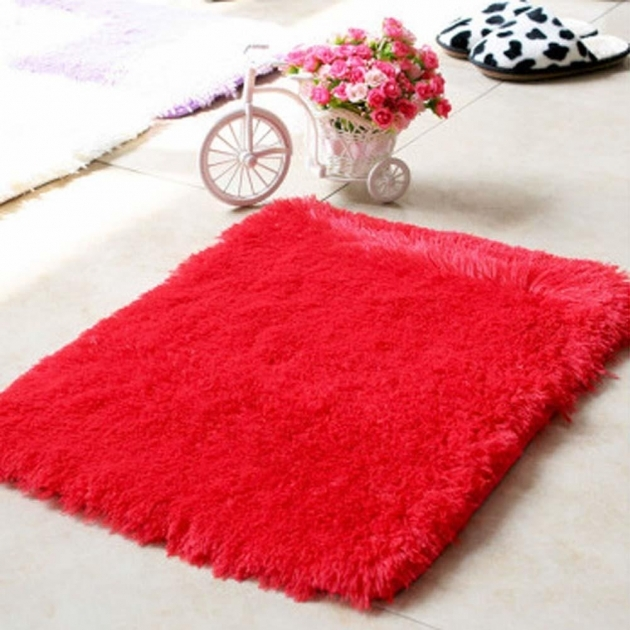 Red Shag Rug Anti Skiding Shaggy Area Rug Dining Room Popular Hot Fluffy Rugs Images 02