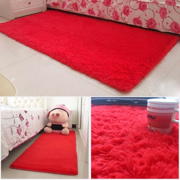 Red Shag Rug Hot Fluffy Rugs Anti Skiding Dining Room Carpet Floor Photo 28