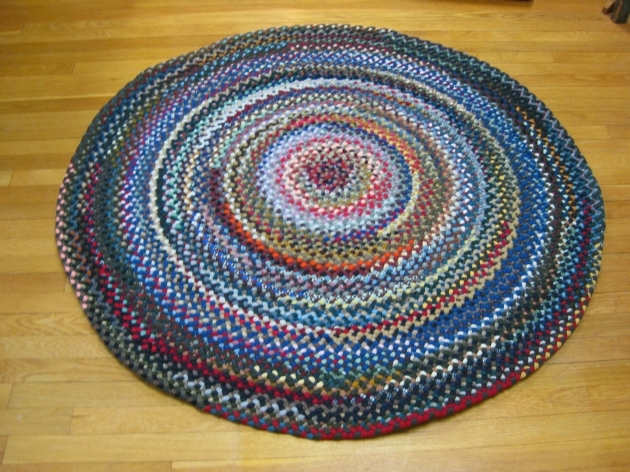 Round Braided Rugs Wool Blue Photos 11