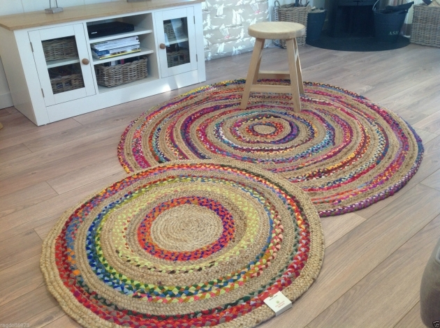 Round Jute Rug Lovely Hand Loomed Braided Cotton Jute Multi Colour Round Rug 1m Image 82