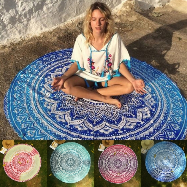 Round Outdoor Rugs Mandala Tapestry Indian Wall Hanging Beach Throw Towel Yoga Mat Image 11