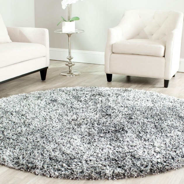 Round Shag Area Rug Plush Silver Shag Rug Malibu Collection Image 63