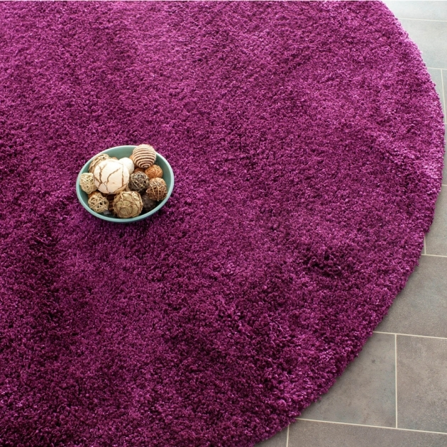 Round Shag Area Rug Purple Round Indoor Machine Made Area Rug Photo 64