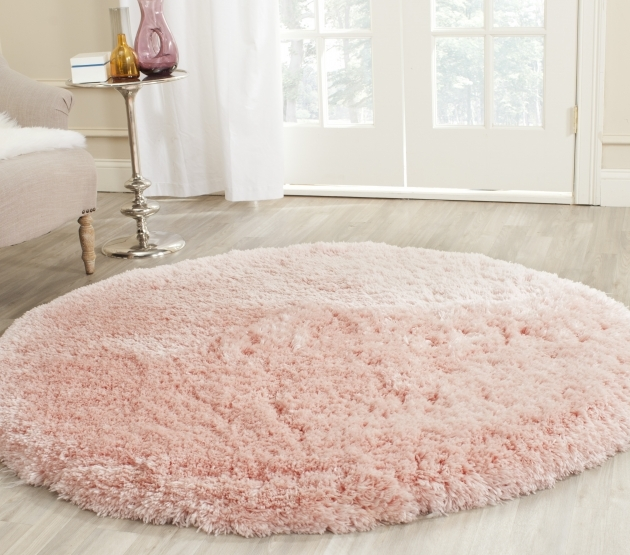 Round Shag Area Rug Safavieh Hand Tufted Pink Polyster Photos 42