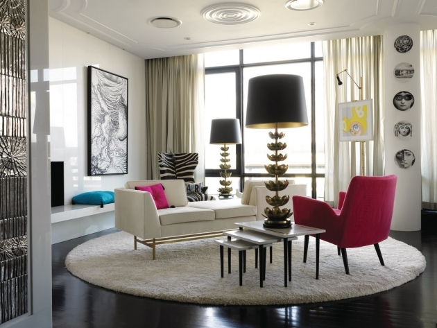 Round Shag Rug With Interior Fancy White Manhattan Penthouse Apartement Design Ideas Pic 21