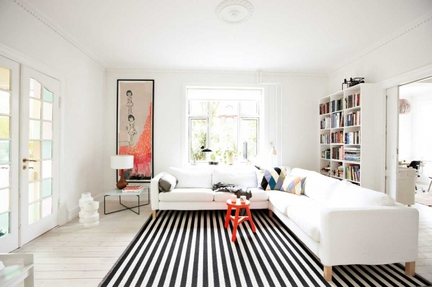 Rugs For Living Room White Interior Decorating Ideas With Black Stripped Rugs Under White Fabric Corner Sofa Images 35