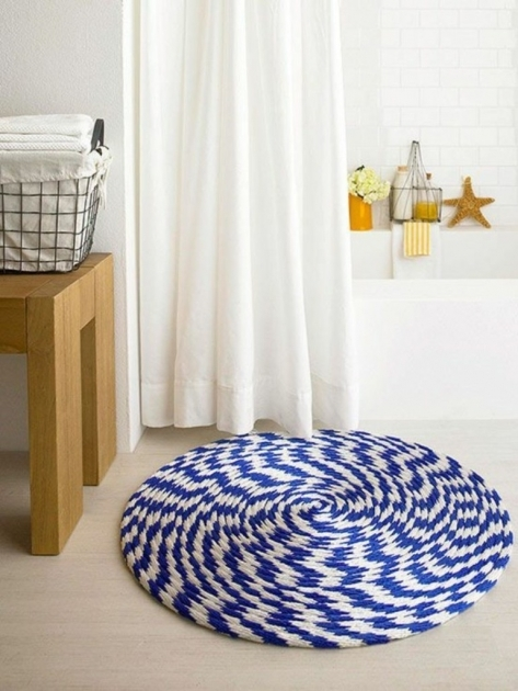 Small Round Rugs Bathroom Unique Blue And White Design Ideas With White Shower Curtain Pictures 99