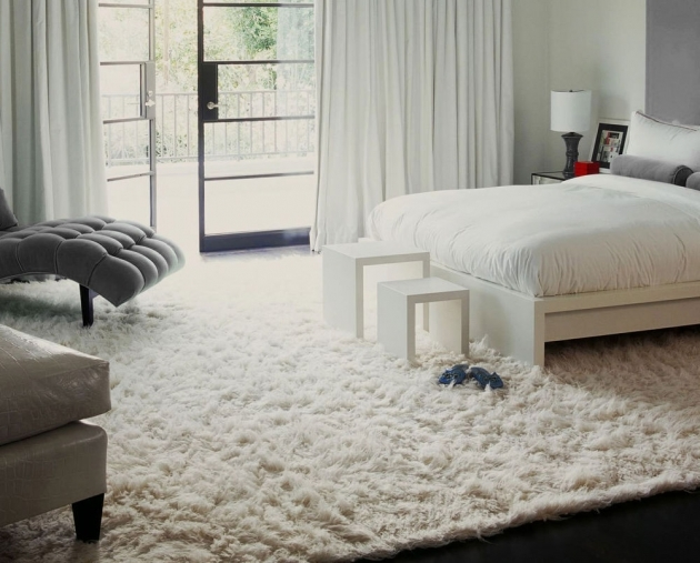 White Shag Rug Bedroom Interior Design With Large Bed Also Chairs Pictures 45