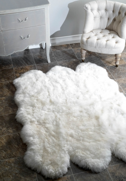 Faux Sheepskin Rug White Fur Rug With Beige Tufted Chair And Dresser For Home Decoration Ideas Image 38