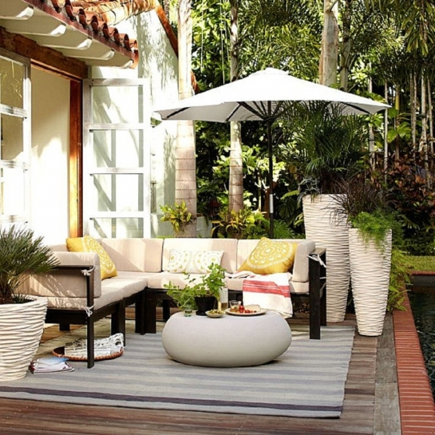 Outdoor Patio Rugs Exterior Ideas With White Grey Stripe Pattern Ikea  And Dark Brown Lacquered Wooden Sectional Sofa Pic 08