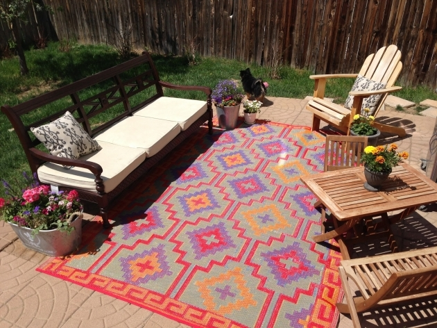 Plastic Outdoor Rugs  Recycled Furniture Bold Brown Wooden Sofa Backyard Patio Natural Tile Floor Image 55