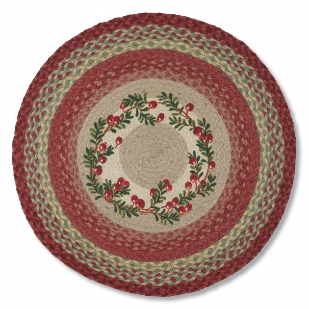 Round Cranberry Rug Jute Braided Rug Country Style Accent Rug Photos 01