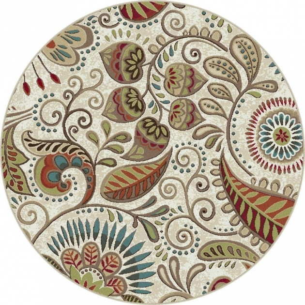 Round Cranberry Rug Tayse Rugs Capri Ivory 5 Ft 3 In Transitional Round Area Rug Images 41