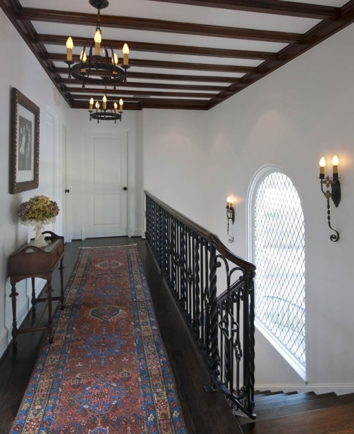 Rug Runners For Hallways Hall Eclectic With Artwork Baseboards Chandelier Dark Floor Exposed Beams Ironwork Picture 27