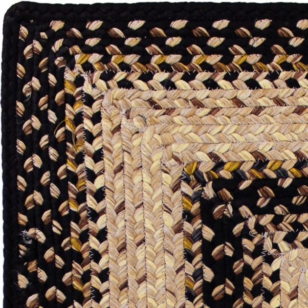 Black Braided Rugs Indoor Outdoor Stain Proof Rectangle Swatch Black Mist Durable Picture 48