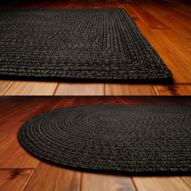 Black Braided Rugs Ultra Durable In Oval And Rectangle Option Shapes For Floor Decor Ideas Photo 18