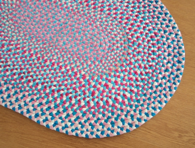 Braided Rag Rug Beautiful Candy Pink Blue Handmade Pictures 68