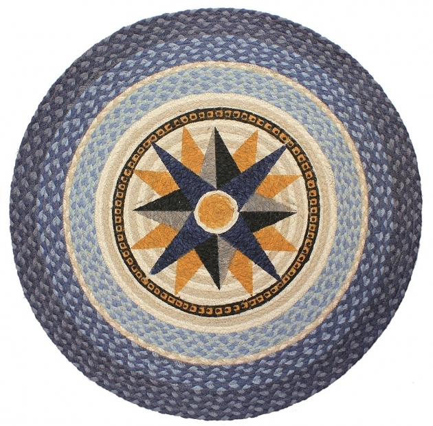 Braided Round Rug Nautical Compass Picture 19