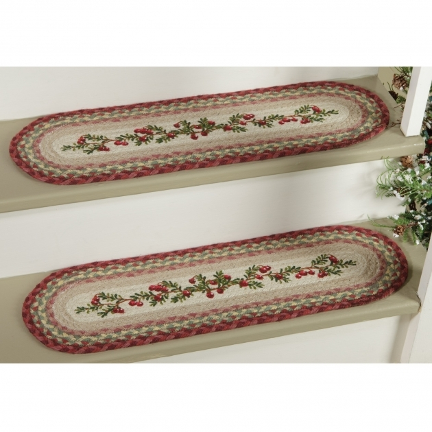Braided Rug Stair Treads Cranberry Jute Stair Tread Image 03