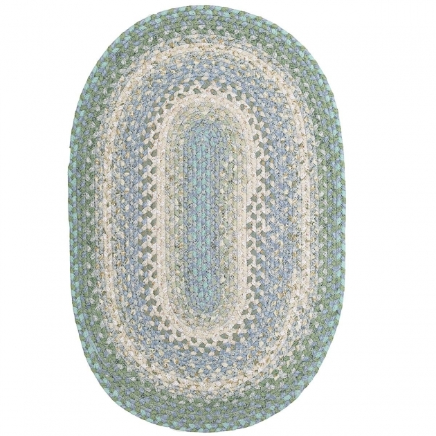 Green Braided Rug Baja Blue Cotton Braided Rugs Country Primitive Decor Oval Picture 96