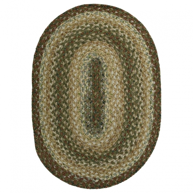 Green Braided Rug Heather Cotton Briaded Rugs Country Primitive Decor Oval Image 85