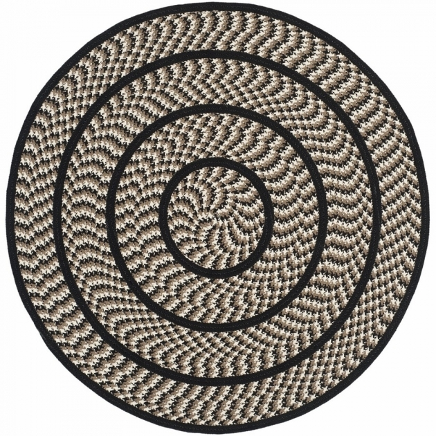 Ivory And Black Braided Round Rug Indoor Area Images 81