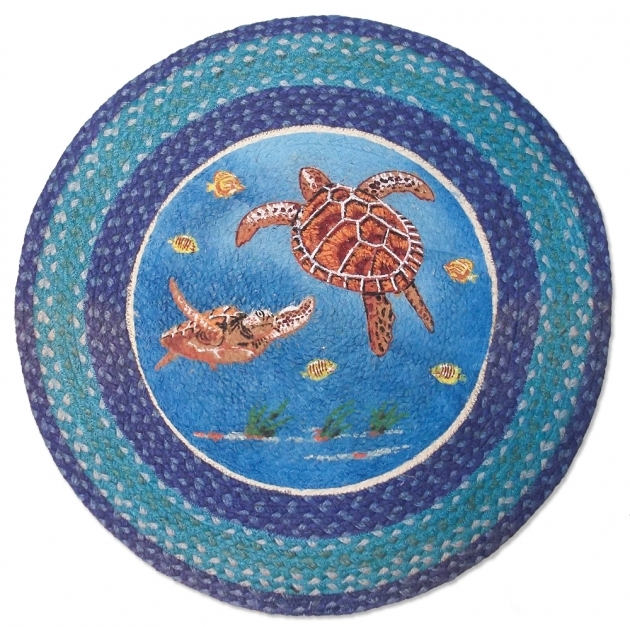"""Nautical Braided Round Rug Sea Turtle Rug 27"""" Tropical Picture 47"""