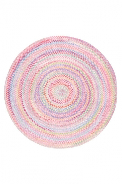 Pink Braided Rug Baby's Breath Braided Chenille Rug Pink Round  Images 79