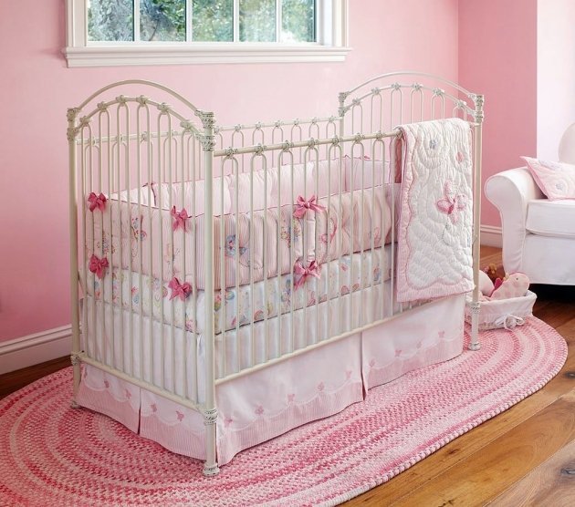 Pink Braided Rug Magnificent Pink Themed Baby Bedroom Set With Oval Braided Rug And White Couch Image 41