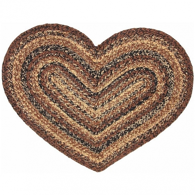 Primitive Braided Rugs Cappuccino Heart Shaped Braided Rug Photo 40