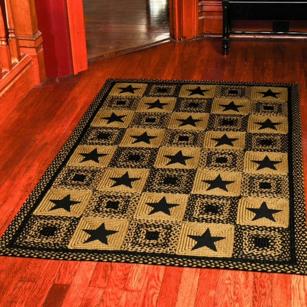 Primitive Braided Rugs Country Area 8x10 Black Star Rectangle Rug Brown And Black Rug Home Decor Picture 13