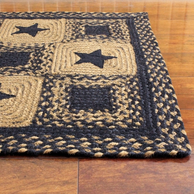 Primitive Braided Rugs IHB 203 Black Country Star Braided Rug Pic 21