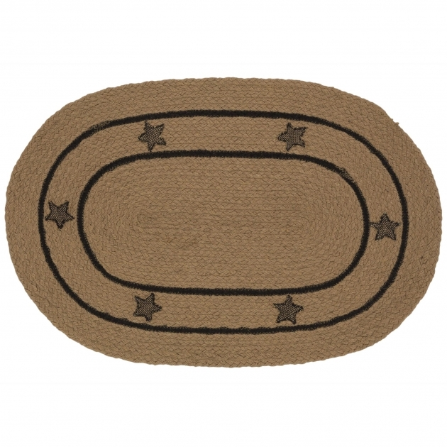 Primitive Braided Rugs IHB 229 Burlap Star Oval Braided Rug Image 63