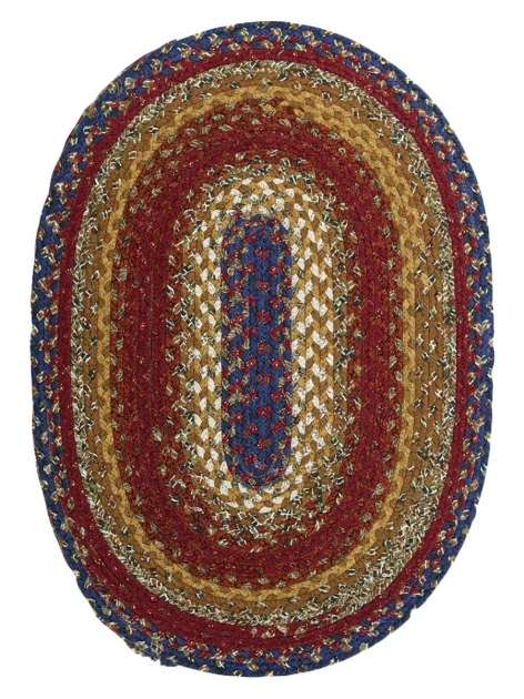 Red Braided Rug Log Cabin Step Cotton Braided Rug Oval Picture 97