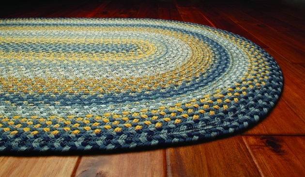 Sunflowers Cotton Blue Braided Rug Country Primitive Decor On Wood Oval Image 56
