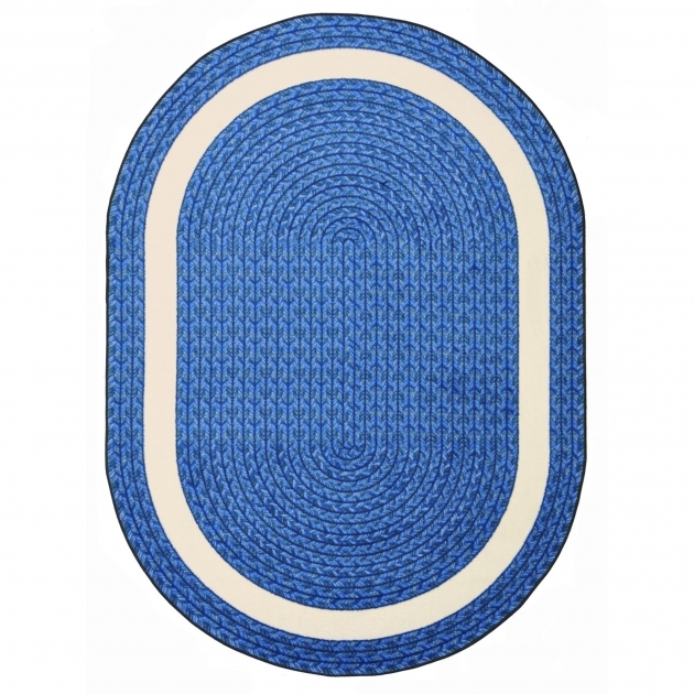 Whimsy Sharing Circle Blue Oval Braided Rug With Print  Pictures 57