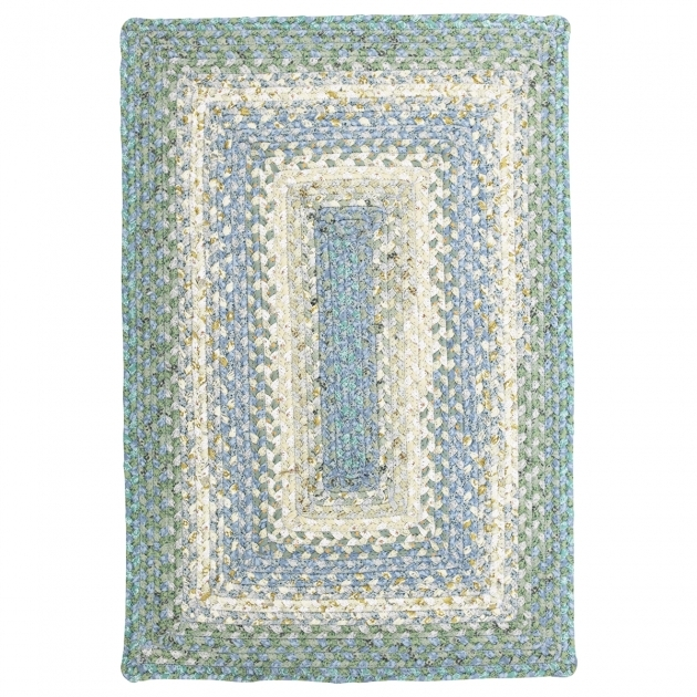 Baja Blue Cotton Rectangular Braided Rugs Image 66