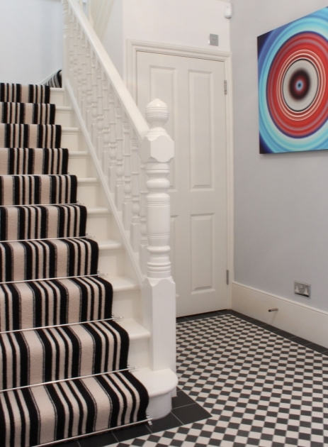 Black And White Striped Runner Rug Stairs Carpet Photo 28