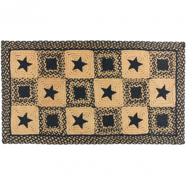 Black Country Star Rectangular Braided Rugs Photo 54