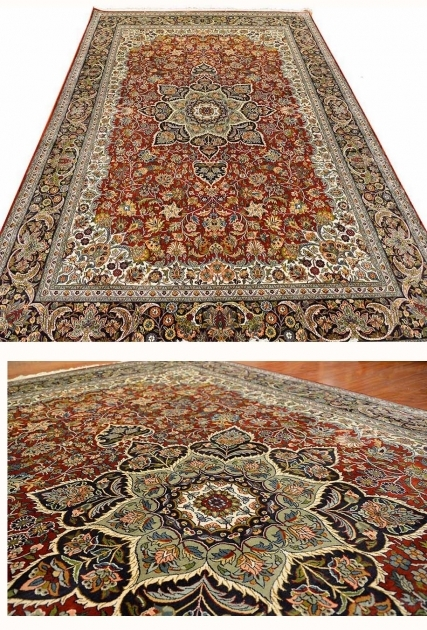 Cheap Persian Style Rugs Red Isfahan Silk On Silk Rug Burgundy Maroon Traditional Carpet Oriental Photo 00