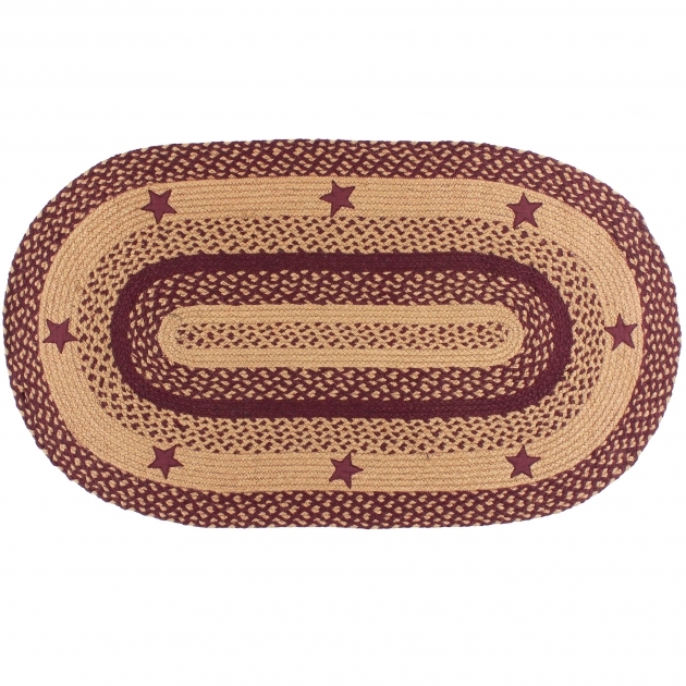 Country Braided Rugs IHB 195 Wine Star Oval Braided Rugs Pic 86