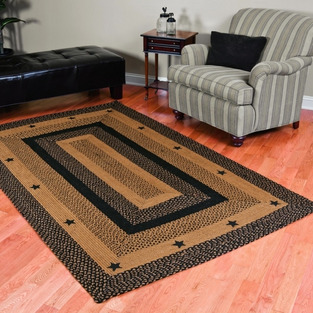 Country Braided Rugs Primitive Rectangular Country Jute 5x8 Black Star Rugs Home Decor Shabby Chic Pics 14
