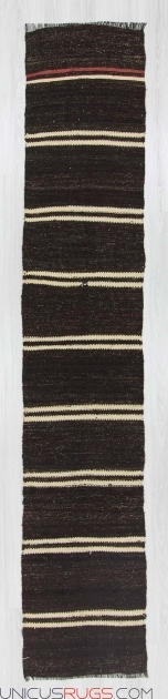 Handwoven Vintage Black And White Striped Runner Rug Decorative Turkish Kilim Picture 42