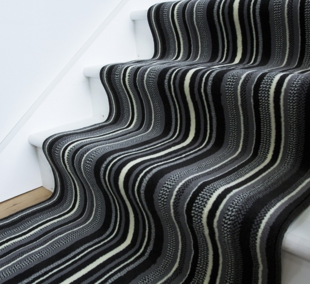Lima 459 Black And White Striped Runner Rug Modern Stair Carpet Runner Side Photos 72